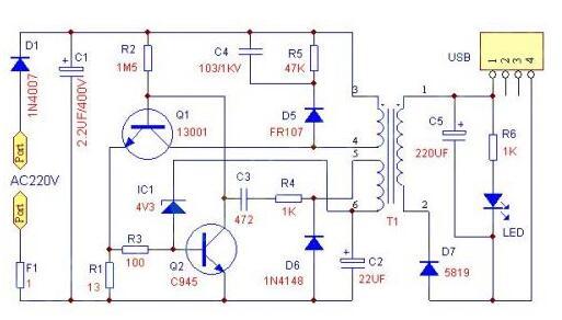 USB充电器套件,又名MP3MP4充电器,输入AC160-240V,50/60Hz,额定输出:DC 5V250mA(如果要长期输出更大电流,请更换Q1为13003)。MP3和MP4在全国范围大量流行,不过作为日常用品的充电器由于直接和220V高压相连,具有故障率较高,容易损坏的特点,特别是买到那些不成熟的产品后,真是苦不看言。现在一同给广大电子爱好者分享一个USB充电器。  下面是对着实物绘制的电路原理图:(电路板上有多种元件安装方法,安装请与原理图、实物图为准,PCB板上有些元件孔是不要安装的,有些元件